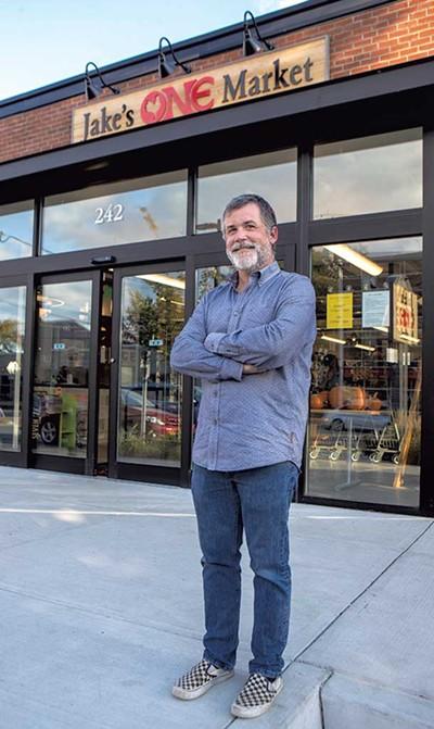 Erik Hoekstra, managing partner of Redstone in front of Jake's ONE Market in Burlington - JAMES BUCK
