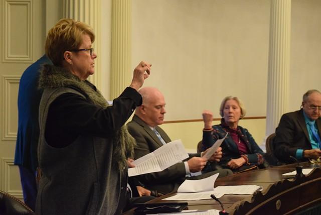Senate Education Committee chair Ann Cummings (D-Washington) explains a compromise school spending cap to the Senate on Thursday. - TERRI HALLENBECK