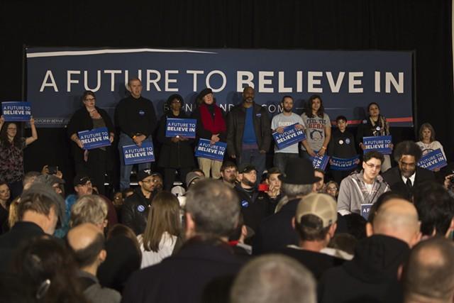 Supporters of Sen. Bernie Sanders Friday in Davenport - MATTHEW TERRY