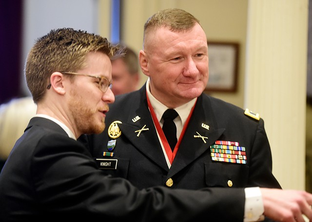 Rep. Dylan Giambatista (D-Essex Junction) with current Adj. Gen. Greg Knight in January 2019 - FILE: JEB WALLACE-BRODEUR