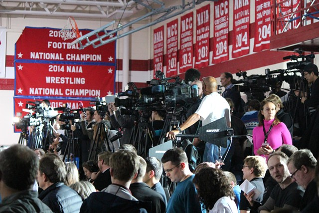 Reporters at a Sanders rally in Des Moines - PAUL HEINTZ
