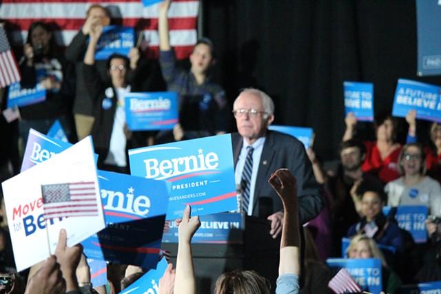 Sen. Bernie Sanders Sunday in Des Moines - PAUL HEINTZ