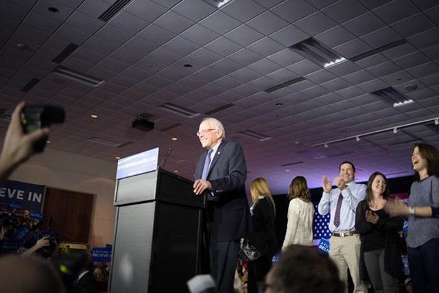 Sen. Bernie Sanders Monday night in Des Moines - KRISTIAN DAY