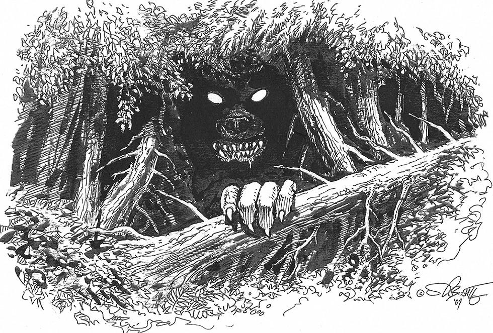 Illustration of the Bennington Monster by Stephen R. Bissette - COURTESY