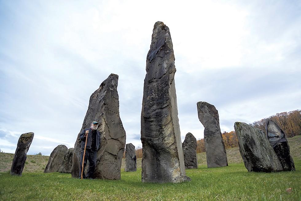 Joe Citro by the Stonehenge-like stone circle in South Woodstock - TOM MCNEILL