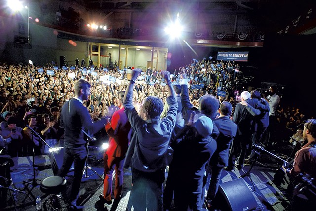 Sen. Bernie Sanders with members of Vampire Weekend, Foster the People and the Dirty Projectors Saturday in Iowa City - ADAM BURKE
