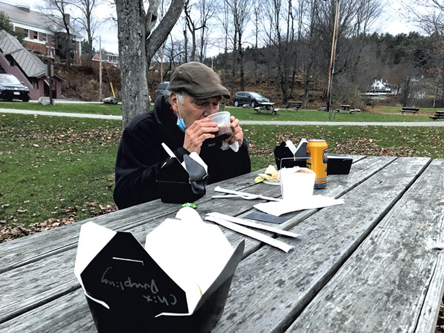 Steve Bogart drinking hot-and-sour soup at a park in Stowe - SALLY POLLAK ©️ SEVEN DAYS
