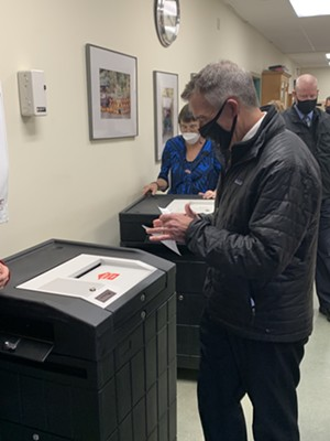 Gov. Scott submitting his ballot Tuesday - PAUL HEINTZ ©️ SEVEN DAYS