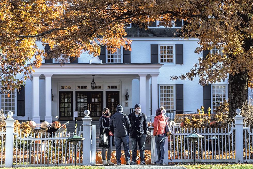 Tourists outside the Woodstock Inn & Resort - TOM MCNEILL
