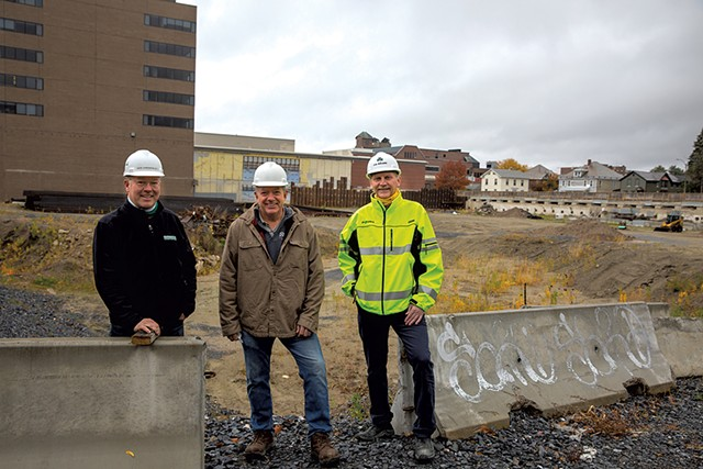 From left: Dave Farrington, Al Senecal and Scott Ireland at the CityPlace site in Burlington - JAMES BUCK