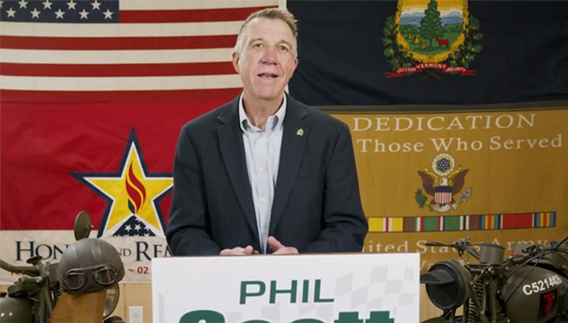 Gov. Phil Scott declares his victory speech Tuesday in a video shot in his motorcycle garage. - SCREENSHOT