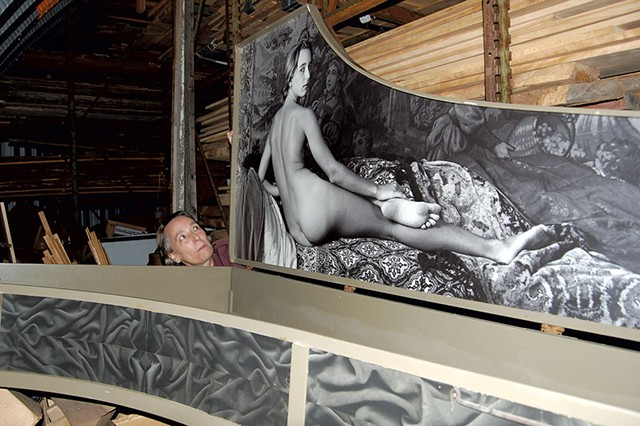Annette Smith looks at a harpsichord adorned with her image. A photo of the instrument appeared in Playboy in 1978. - COURTESY OF JESSICA WOOD