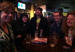 Sanders supporters at Finnigan's Pub - TERRI HALLENBECK