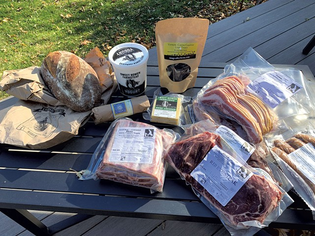 Snug Valley Farm delivery, including the farm's meats and pet treats plus bread, dairy and cured sausage from other producers - MELISSA PASANEN ©️ SEVEN DAYS