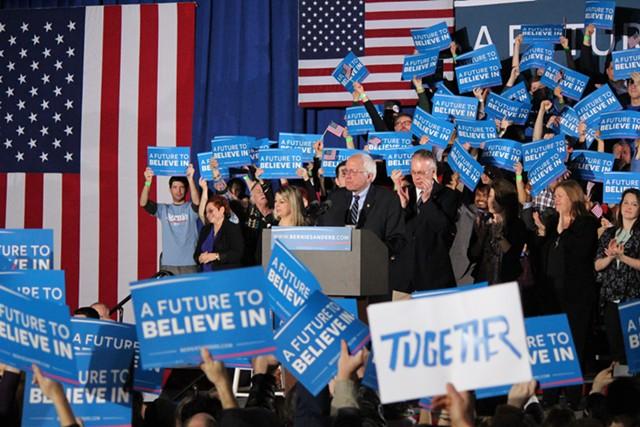 Sen. Bernie Sanders declares victory Tuesday night in Concord, N.H. - PAUL HEINTZ