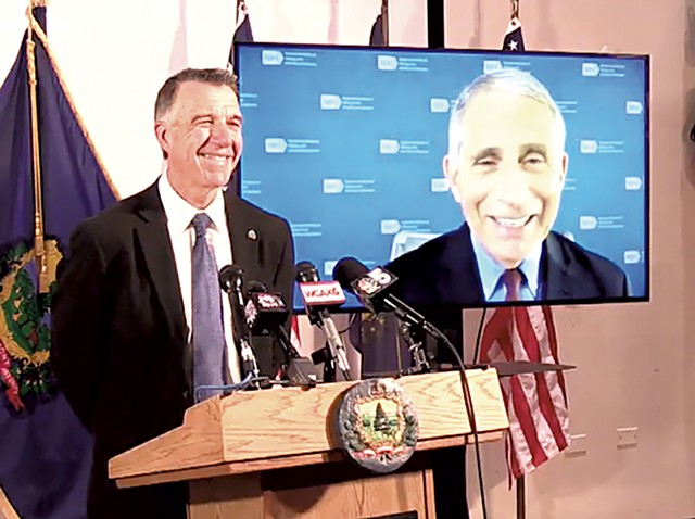 Gov. Phil Scott with Dr. Anthony Fauci on-screen - SCREENSHOT