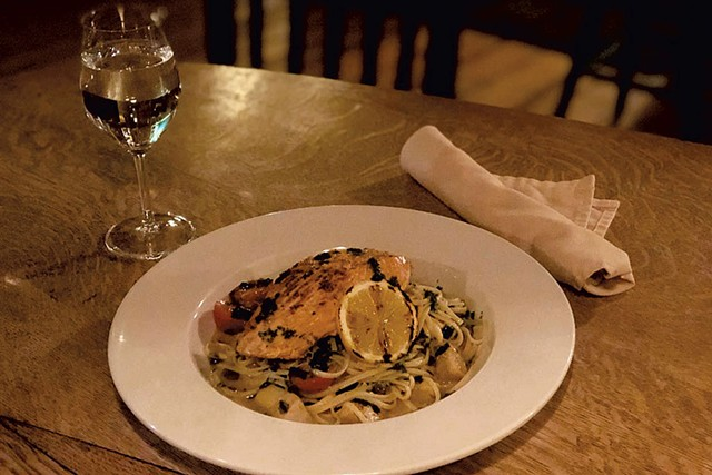 Citrus-marinated Faroe Island salmon over linguini at Black Lantern Inn - COURTESY OF BLACK LANTERN INN