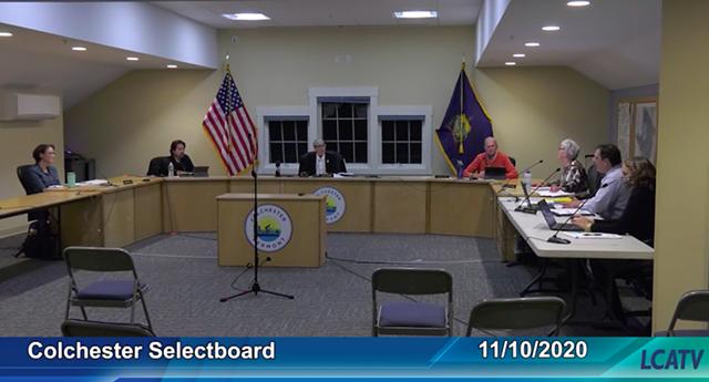 Colchester selectboard members at their November 10 meeting - LAKE CHAMPLAIN ACCESS TELEVISION SCREENSHOT