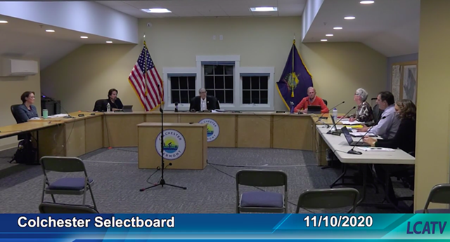 Colchester selectboard members at their November 10 meeting - LAKE CHAMPLAIN ACCESS TELEVISION SCREENSHOT