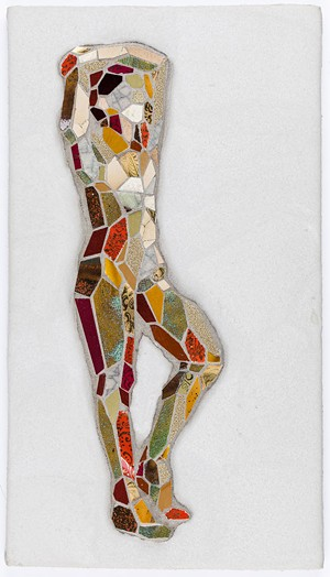 "Mary Lacy's ""Small Figure II,"" made out of dishes, grout and cement on board - COURTESY PHOTO"