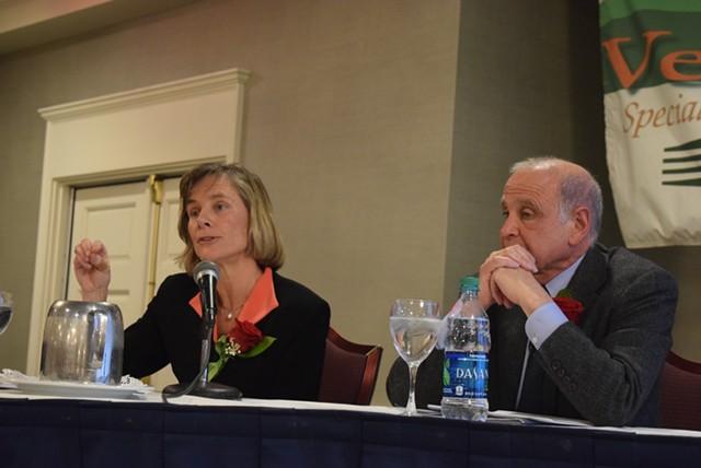 Former transportation secretary Sue Minter (left) and retired Wall Street executive Bruce Lisman at a forum for gubernatorial candidates. - TERRI HALLENBECK