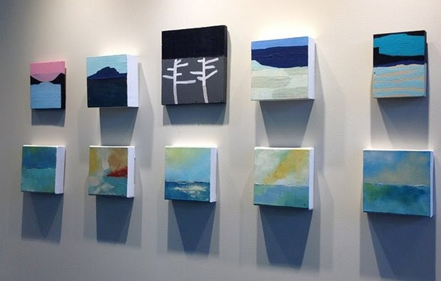"""Installation view of """"Smalls"""" paintings - COURTESY OF AXEL'S FRAME SHOP & GALLERY"""