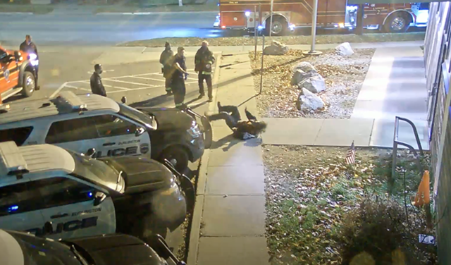 The man hitting the ground after Mahoney shoved him - SCREENSHOT