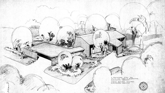 Marcel Beaudin drawing of the Rosenthal Residence in Burlington, 1964 - COURTESY OF TEAL DOGGETT