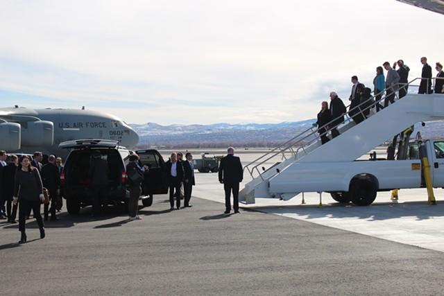 Sanders deplanes in Reno, Nevada. - PAUL HEINTZ