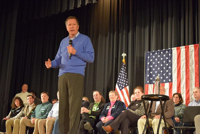 Ohio Gov. John Kasich speaks Saturday in Colchester. - TERRI HALLENBECK