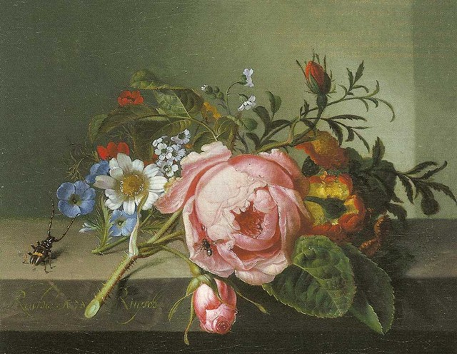 """""""Still Life With Rose Branch, Beetle and Bee"""" by Rachel Ruysch - ARTWORK COURTESY OF ERIKA GAFFNEY/KUNSTMUSEUM BASEL"""