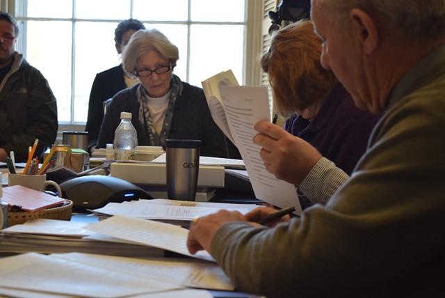 Senate Appropriations Committee chair Jane Kitchel (D-Caledonia) leads a committee discussion Monday on marijuana legislation. - TERRI HALLENBECK