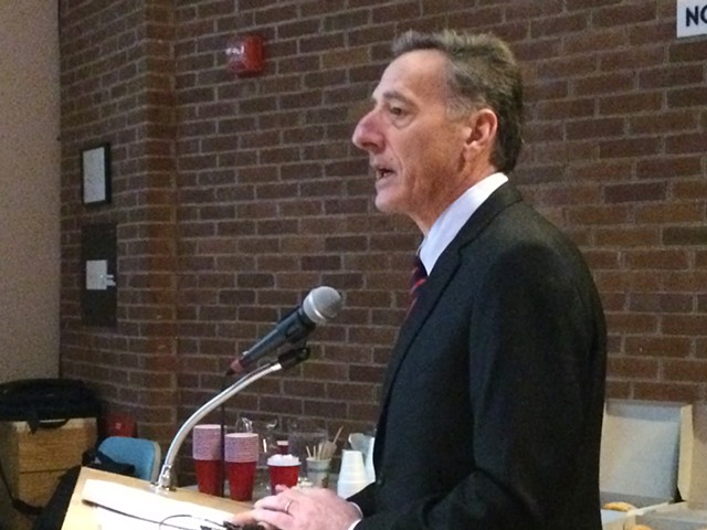 Gov. Peter Shumlin speaking to the Vermont Pension Investment Committee on the issue of divestment. - NANCY REMSEN