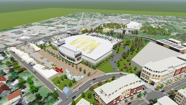 Aerial view of Catamount Center concept - DORE & WHITTIER  ARCHITECTS, INC.
