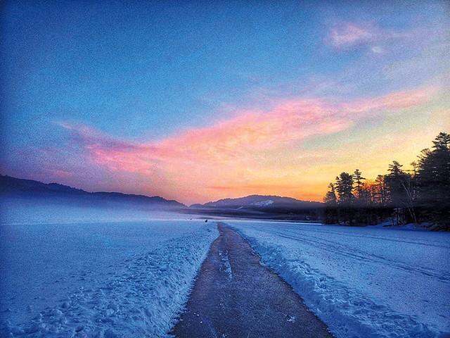 Frozen trail on Lake Morey at sunrise - COURTESY OF LAKE MOREY RESORT