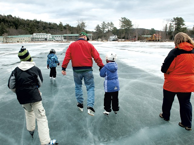Ice skaters on Lake Morey - COURTESY OF LAKE MOREY RESORT