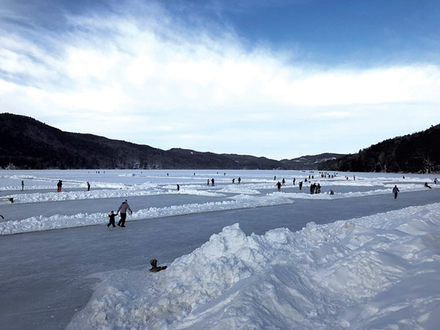 Small skating rinks on the lake - COURTESY OF LAKE MOREY RESORT