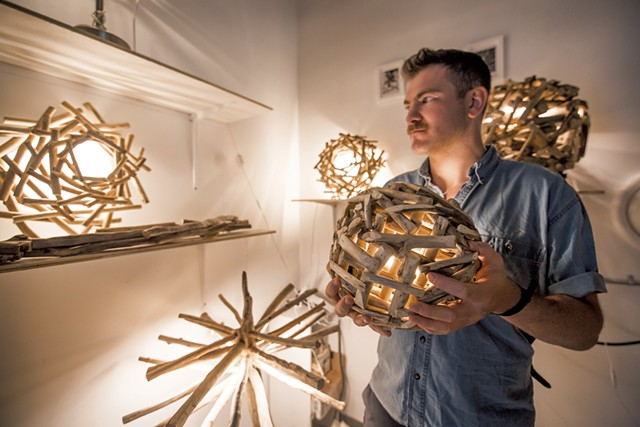 Clay Morhman with his driftwood lamps in 2018 - FILE: LUKE AWTRY