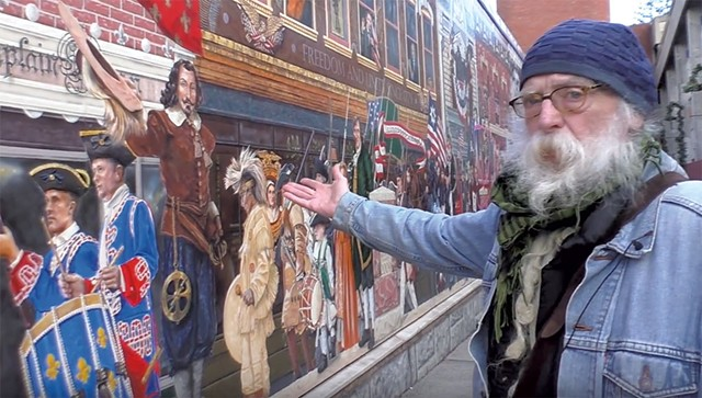 "Albert Petrarca by the ""Everyone Loves a Parade!"" mural - COURTESY OF CHANNEL 17"