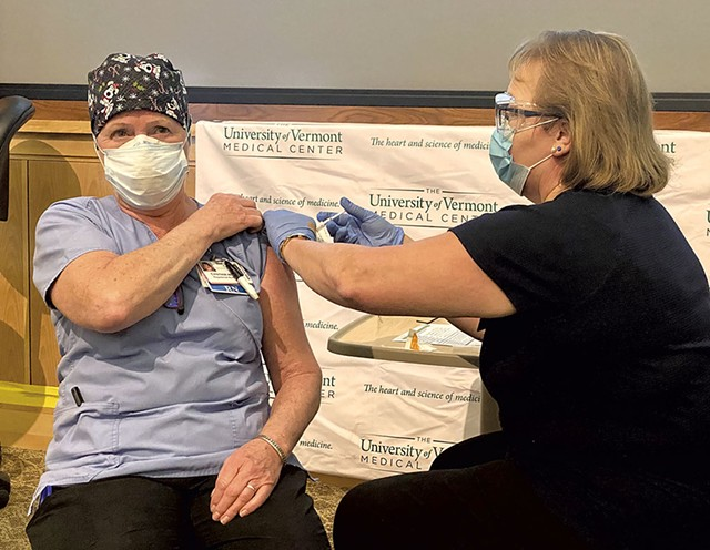 Cindy Wamsganz, the first person to receive a COVID-19 vaccine in Vermont - COURTESY OF UVM HEALTH NETWORK