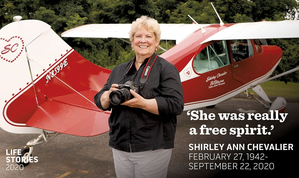 Shirley Chevalier with her plane - COURTESY OF J.D. GOODMAN