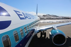 Bern Force One on the tarmac in Elko, Nevada - PAUL HEINTZ