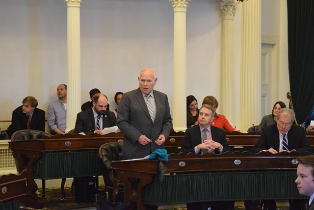 Sen. Dick Sears (D-Bennington) speaks Wednesday on the Senate floor about legalizing marijuana. - TERRI HALLENBECK
