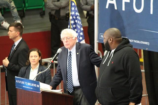 Sen. Bernie Sanders and Killer Mike Friday in Orangeburg, S.C. - PAUL HEINTZ
