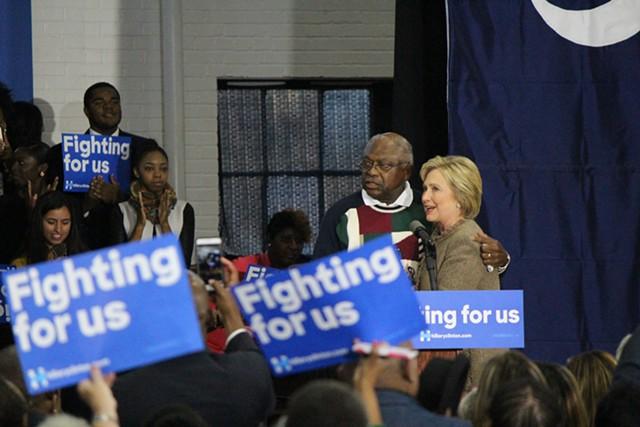Congressman James Clyburn and Hillary Clinton Friday in Orangeburg, S.C. - PAUL HEINTZ
