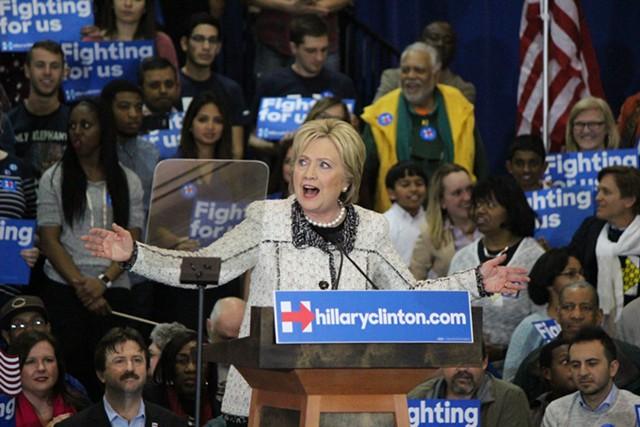 Hillary Clinton celebrates her victory Saturday night in Columbia, S.C. - PAUL HEINTZ