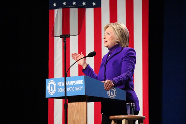 Hillary Clinton campaigning earlier this month in New Hampshire. - FILE: PAUL HEINTZ
