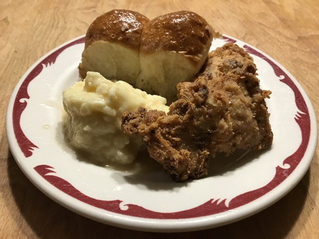 Hen of the Wood fried chicken, mashed potatoes and Parker House rolls - SALLY POLLAK ©️ SEVEN DAYS