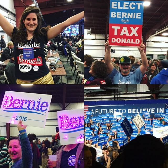 Supporters at the Bernie Sanders rally in Essex - JAMES BUCK