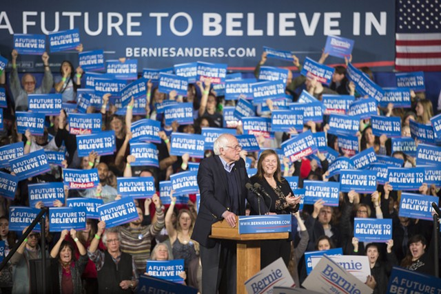 Sen. Bernie Sanders (I-Vt.) speaks Tuesday night at the Champlain Valley Exposition in Essex Junction. - JAMES BUCK
